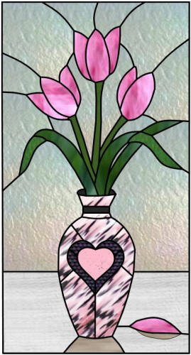 pink tulips in vase stained glass window