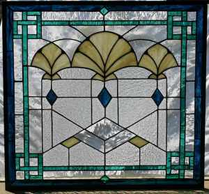 Art Deco Fans stained glass window