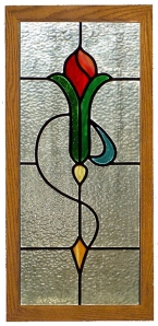 Simple tulip stained glass panel