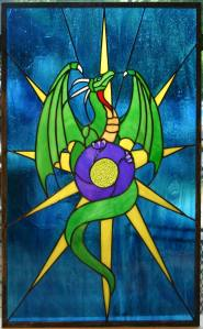 Dragon star stained glass panel